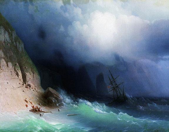Кораблекрушение у скал. (Айвазовский И.К.)