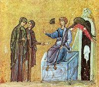 Жены-мироносицы у Гроба Господня. Миниатюра из Евангелия и Апостола