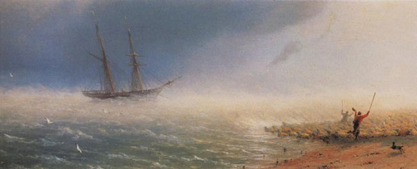 Овцы, загоняемые бурею в море. (Айвазовский И.К.)