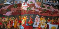Кришна поднимает гору Говардхан (Мевар, конец 17 века)