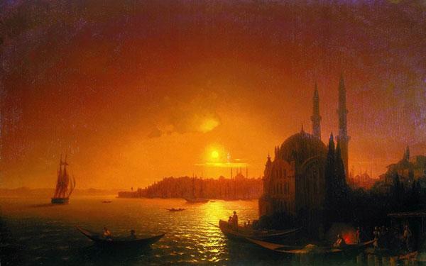 Вид Константинополя при лунном освещении. (Айвазовский И.К.)