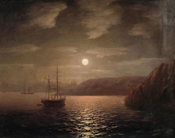 Лунная ночь на берегу моря в Крыму. (Айвазовский И.К.)
