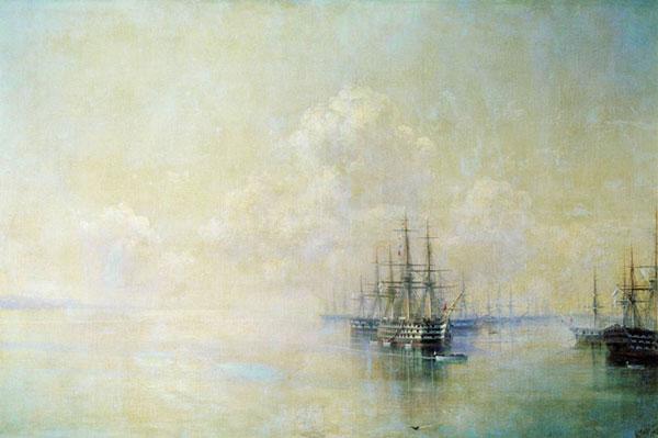 Эскадра Черноморского флота перед выходом на Севастопольский рейд.