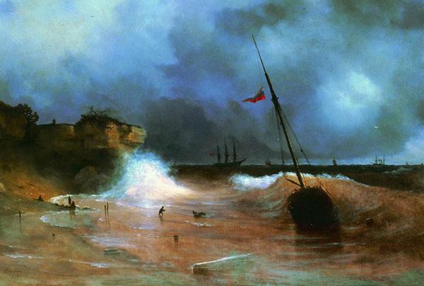 Конец бури на море. (Айвазовский И.К.)