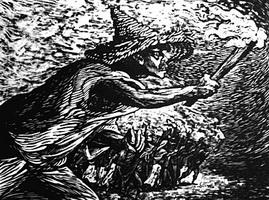 Факелы (Л. Мендес, линогравюра, 1948 г.)