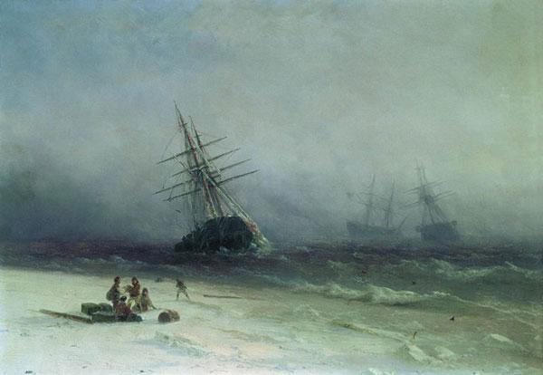 Кораблекрушение в Северном море. (Айвазовский И.К.)