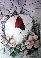 Бабочка в шиповнике (Е. Торопова)