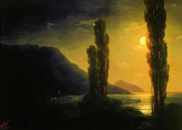 Лунная ночь. Окрестности Ялты. (Айвазовский И.К.)