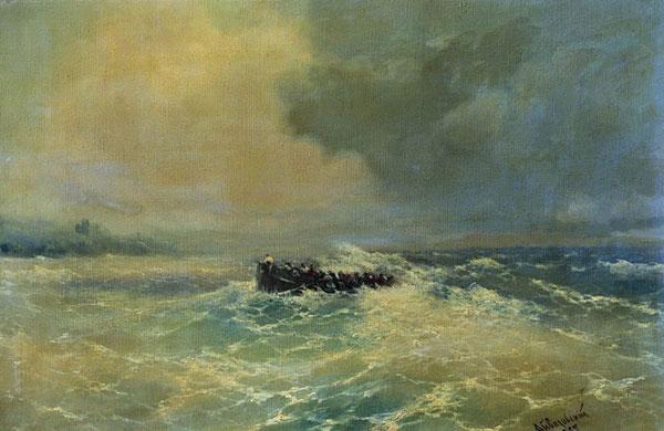 Перед Алупкой в Крыму (Лодка в море).