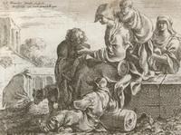 Семейство у колодца (С. Бурдон, резцовая гравюра)