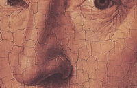 Кракелюры маляной живописи (деталь портрета, Ян ван Эйк)