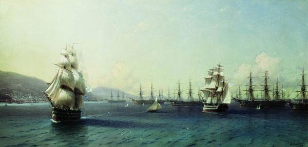 Черноморский флот в Феодосии. (Айвазовский И.К.)